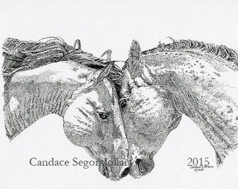 Young Stallions, Pen and Ink, Stiple Design, Equine