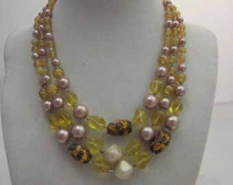 Vintage Triple strand Beaded Necklace in Purple, Pink,Yellow, White & Silver