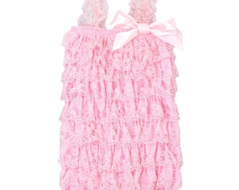 Baby Pink Lace Romper