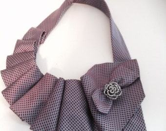 Necktie Statement Necklace and flower pin.