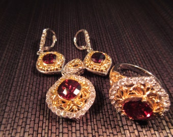 Sterling Silver Red Gemstone Jewelry Set