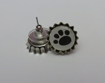 1.5 cm Paw Print Bottlecap Earrings