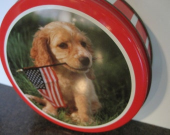 Vintage Metal Tin With Puppy Holding USA Flag in Mouth-Red White Striped Metal Tin With Golden Retriever-Patriotic Dog Tin-4th of July Decor