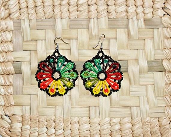 Bright Multicolor Flower Earrings, Peyote Flower Earrings, Huichol Earrings, Native American Earrings, Hippie Earrings, Fun Spring Jewelry
