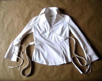 Gianfranco Ferre * 90's wrap blouse * white cotton * size S