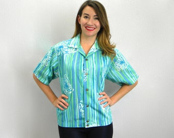 50s Alfred Shaheen Shirt | Blue Print Cotton Shirt | Large