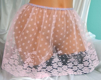 VTG style Totally sheer All lace pink mini lingerie half slip sissy skirt 26-40""