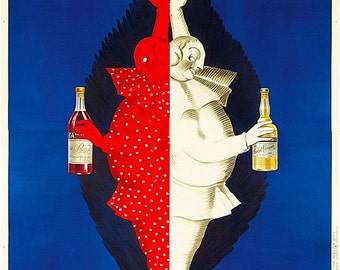 Vintage Italian Campari Brothers 1921 Red White and Blue by Capiello, Print Poster or Canvas