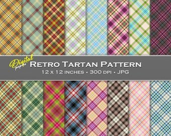 Retro Tartan Pattern Backgrounds - Digital Scrapbook Papers - 16 sheets, 12x12, CU OK - Instant Download