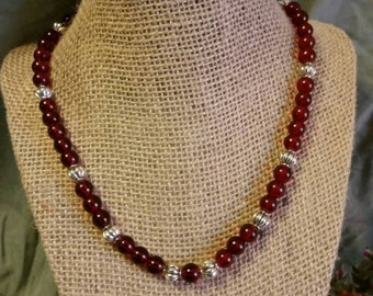 Ruby Red Glass Necklace