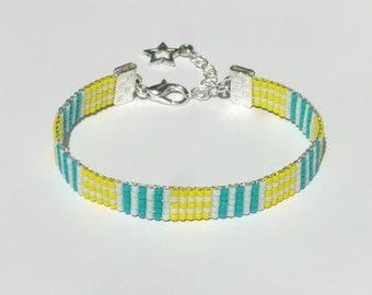 Mauzie Miyuki Delica Beaded Bracelet Jewelry Beads Turquoise Yellow White