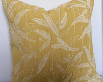 White Bamboo on butter yellow pillow, Bamboo Pillow, White Floral Pillow, Yellow Pillow, Decorative Toss Pillow, Sofa Cushion, Couch Decor