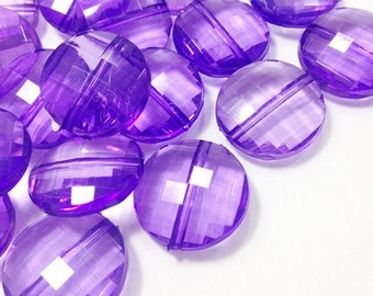 Indigo Purple Large Translucent Beads - 21mm Faceted circle round Bead - FLAT RATE SHIPPING - Jewelry Making - Wire Bangles