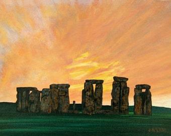 Limited Edition Fine Art Giclee Print Stonehenge at Sunset