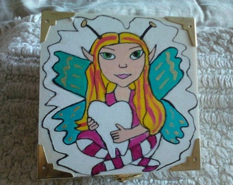 Wooden Tooth Fairy Box and Trinket Box