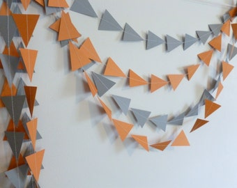 Orange Triangle Tribal Geometric Paper Garland | Home Decor | Geometric Party Decor
