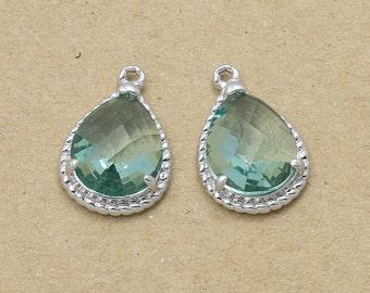 Erinite Glass Pendant, Jewelry Supplies, Polished Rhodium Plated Over Brass - 2 Pieces-[SGP0001]-ERINITE/PR