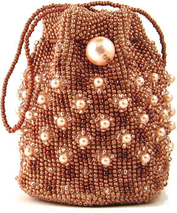 Copper Bead Crochet Bag Instant Download Pattern By Ann Benson