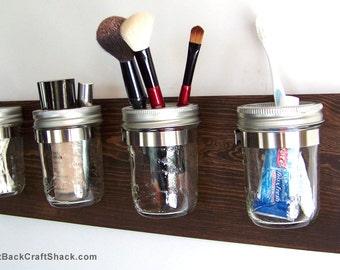 "Bathroom Organizer; Bathroom Caddy; 4 Jars; Kona Stain; Makeup Holder; Mason Jar Decor; Toothbrush Holder; 18"" long; Other colors available!"