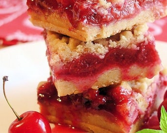 Cherry Pie Crumble Bars- Bakery Pastry Gourmet Edible Sweet Dessert