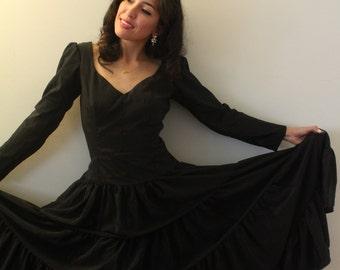 Black 1950s Full Skirt Dress