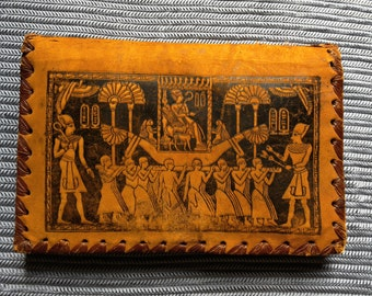 Vintage Leather Egyptian Hieroglyph Clutch