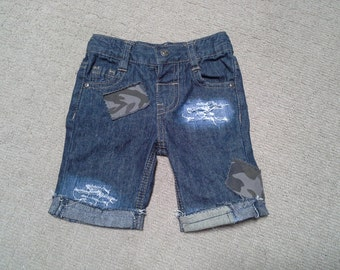 50% OFF SALE baby infant shorts, distressed denim, rocker shorts, 6 months 1 year old, ripped frayed denim, camouflage patch, Jeans shorts