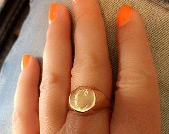 Engraved ring, Personalized Ring, Signet Ring, women ring, men ring, Initial ring, Gift for women, letter Ring, Pinky ring, gold letter ring