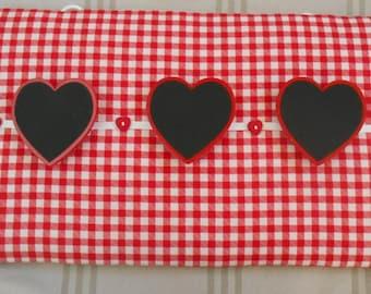 Memo board-Notice board-Peg board-Red gingham memo board-Wall decor-Cottage chic-Shabby chic