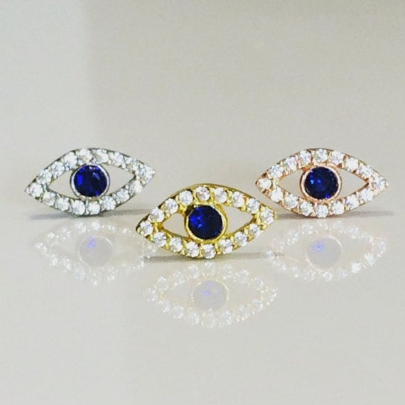 eye cz stud earrings with dazzling cubic zirconia, safe to get wet beautiful gift to give or keep, NOW ON SALE