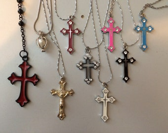 Rhinestone / Goth / Pearl / Cross Necklace Pendant