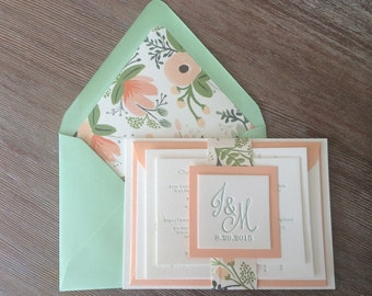 Letterpress mint and peach wedding invitation suite with belly band