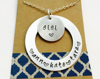 Hand Stamp Gigi Necklace Grandma Necklace, Gift from Kids,Grandma Gift
