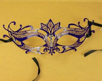 PURPLE Mardi Gras VENETIAN MASQUERADE Mask Laser Cut metal w/ Rhinestones
