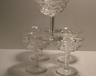 "Six Fostoria ""AMERICAN"" Champagne/Sherbet Glasses - Tall - Hexagon Stem"