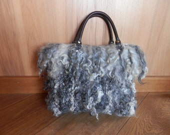 Mohair handbag, Mohair locks, woven handbag, Angora goat