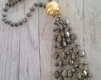 Kirsten Tassel Necklace - Pyrite and Gold Vermeil Focal  Bead