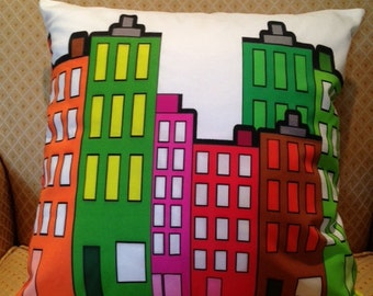Cream Pillow Cover with Colorful Buildings