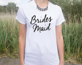 Bridesmaid T-shirt Top Slogan Fashion Wedding Gift Bride Flower Girl  Bachelorette Hen Do Party