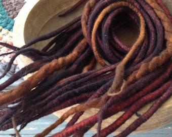 Wool Dreadlocks-14 Double Ended/Reddish Brown wool dreads/Wool Dreads/handpainted dreadlocks/wool hair extensions/handmade woollies