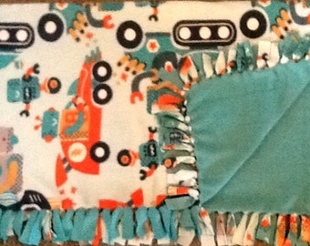 Robots in motion print fleece tie blanket,  reversible  blanket