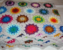 MADE TO ORDER Hand Crochet, Hexagon Flowers Decorative  King Size Blanket/Throw 95'' x 95''