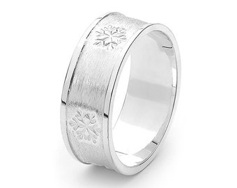 Men's Sterling Silver Snowflake Ring