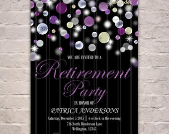Silver Purple Glitter Retirement Party Invitation, DIY Printable Retirement Invite, Adult Party Invite, Woman's Retirement, Man's Retirement