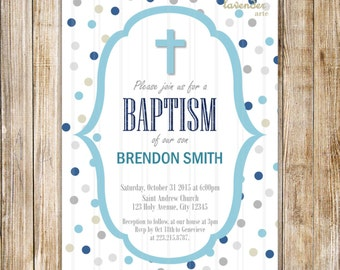 Navy Gray Baby Boy BAPTISM Invitation, Blue Grey Christening Invite, Holy Communion, Cross CHRISTIAN, Blue Gray Polka Dot, Printable Digital