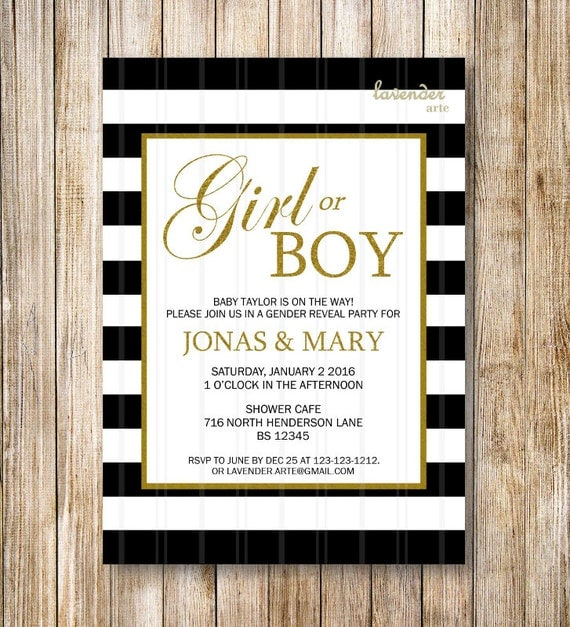 Items Similar To Black White Stripes Gender Reveal Party