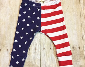 Stars N Stripes Leggings, Patriotic Pants, Fourth of July Leggings