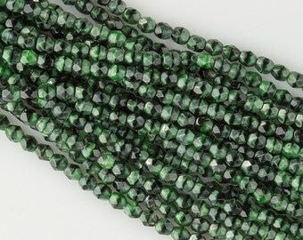 "Vintage Czech faceted malachite glass 4mm beads, 30"" strand. b11-gr-2038(e)"