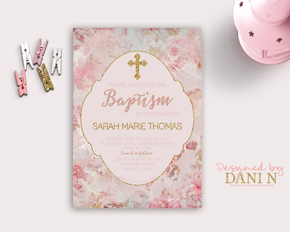 Pink and gold floral baptism invitation christening catholic il570xn stopboris Images
