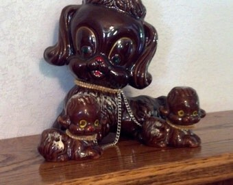 Brown Mother Dog with two Puppies on Chain. original Artmark